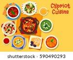 cypriot cuisine healthy food... | Shutterstock .eps vector #590490293