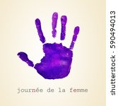 a violet handprint and the text ... | Shutterstock . vector #590494013