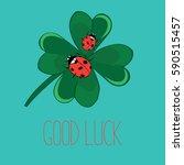 ladybugs on cloverleaf. vector... | Shutterstock .eps vector #590515457