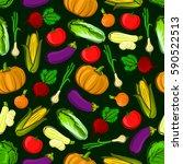 vector icons of vegetables in... | Shutterstock .eps vector #590522513