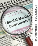Stock photo social media coordinator searching job in newspaper column in the newspaper with the searching 590526527