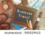 business travel inscription on... | Shutterstock . vector #590529413