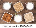 milk alternatives  almond  soy... | Shutterstock . vector #590548613