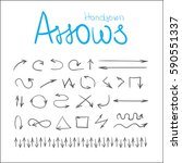 different arrows hand drawn... | Shutterstock .eps vector #590551337