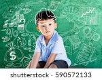 happy little asian boy kid in... | Shutterstock . vector #590572133