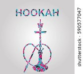 hookah labels  badges and... | Shutterstock .eps vector #590577047