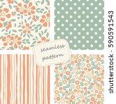 set of 4 vintage seamless... | Shutterstock .eps vector #590591543