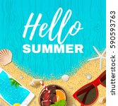 beautiful summer vacation... | Shutterstock .eps vector #590593763