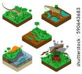 dinosaurs isometric... | Shutterstock .eps vector #590643683