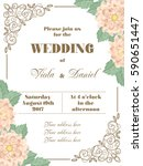 wedding invitation with flowers ... | Shutterstock .eps vector #590651447