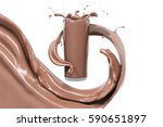 chocolate splash in glass  food ... | Shutterstock . vector #590651897