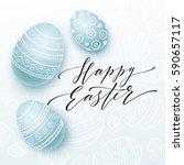 happy easter lettering on... | Shutterstock .eps vector #590657117