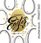 happy easter easter golden... | Shutterstock .eps vector #590657363