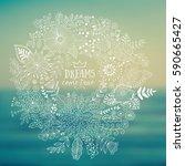 vector circle frame  wreath... | Shutterstock .eps vector #590665427