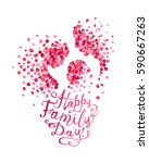 happy family day silhouettes of ... | Shutterstock .eps vector #590667263