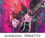 jazz guitarists hands  playing... | Shutterstock . vector #590667713