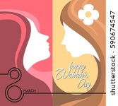 woman's day illustration | Shutterstock .eps vector #590674547