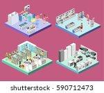 isometric interior shopping... | Shutterstock .eps vector #590712473