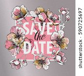 save the date. invitation card... | Shutterstock .eps vector #590725697