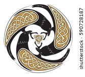 celtic ornament with three... | Shutterstock .eps vector #590728187
