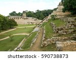 ruins of palenque  maya city in ... | Shutterstock . vector #590738873
