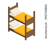 wooden bed in two tiers with a... | Shutterstock .eps vector #590740883