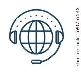 globe and headset vector icon... | Shutterstock .eps vector #590759543