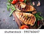 healthy food   grilled chicken... | Shutterstock . vector #590760647