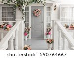 white small wooden house with... | Shutterstock . vector #590764667