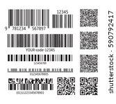 set of various bar codes  qr... | Shutterstock .eps vector #590792417