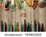 vegetables vs beer  two... | Shutterstock . vector #590801003