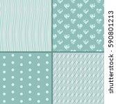 set of 4 monochrome blue... | Shutterstock .eps vector #590801213
