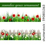 green grass seamless set | Shutterstock .eps vector #590801363
