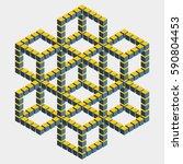 big hexagonal construction with ... | Shutterstock .eps vector #590804453