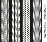 tire tread set. tyre marks... | Shutterstock .eps vector #590805227