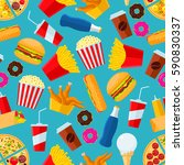 fast food seamless pattern with ... | Shutterstock .eps vector #590830337