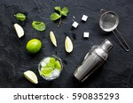 making mojito on dark... | Shutterstock . vector #590835293