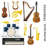 drums or trap kit  violin with... | Shutterstock .eps vector #590843933