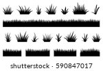 grass silhouettes on the white... | Shutterstock .eps vector #590847017