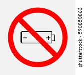 sign ban of no battery. | Shutterstock .eps vector #590850863