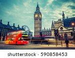 double decker bus in night... | Shutterstock . vector #590858453