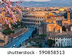 view on colosseum in rome  italy   Shutterstock . vector #590858513
