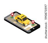 isometric location. mobile geo... | Shutterstock .eps vector #590873597