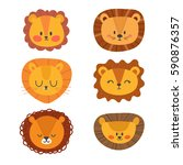set of cute lions. funny doodle ... | Shutterstock .eps vector #590876357