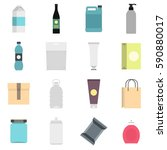 packaging items set icons in... | Shutterstock .eps vector #590880017