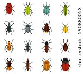 Beetle And Bug Icons Set. Flat...