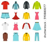 different clothes set icons in... | Shutterstock .eps vector #590880077
