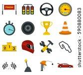 racing speed set icons in flat... | Shutterstock .eps vector #590880083