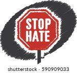 stop hate   red traffic sign... | Shutterstock .eps vector #590909033