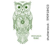 owl. zen art. design zentangle. ... | Shutterstock .eps vector #590918423